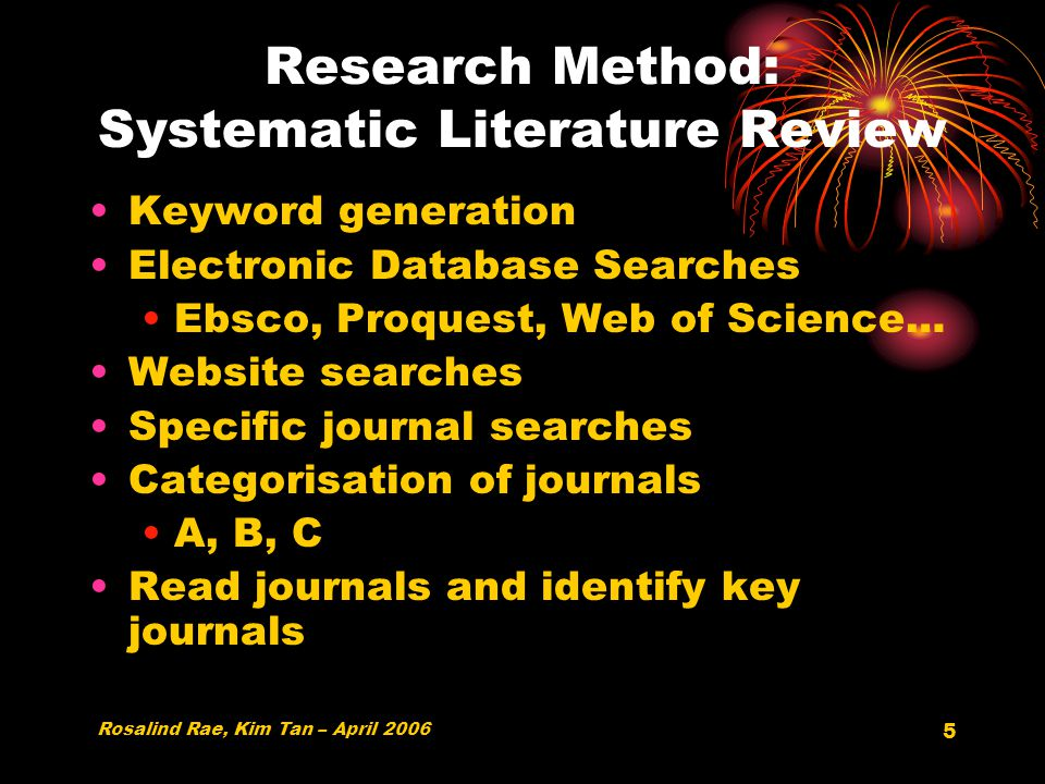 5 Research Method: Systematic Literature Review Keyword generation Electronic Database Searches Ebsco, Proquest, Web of Science… Website searches Specific journal searches Categorisation of journals A, B, C Read journals and identify key journals Rosalind Rae, Kim Tan – April 2006