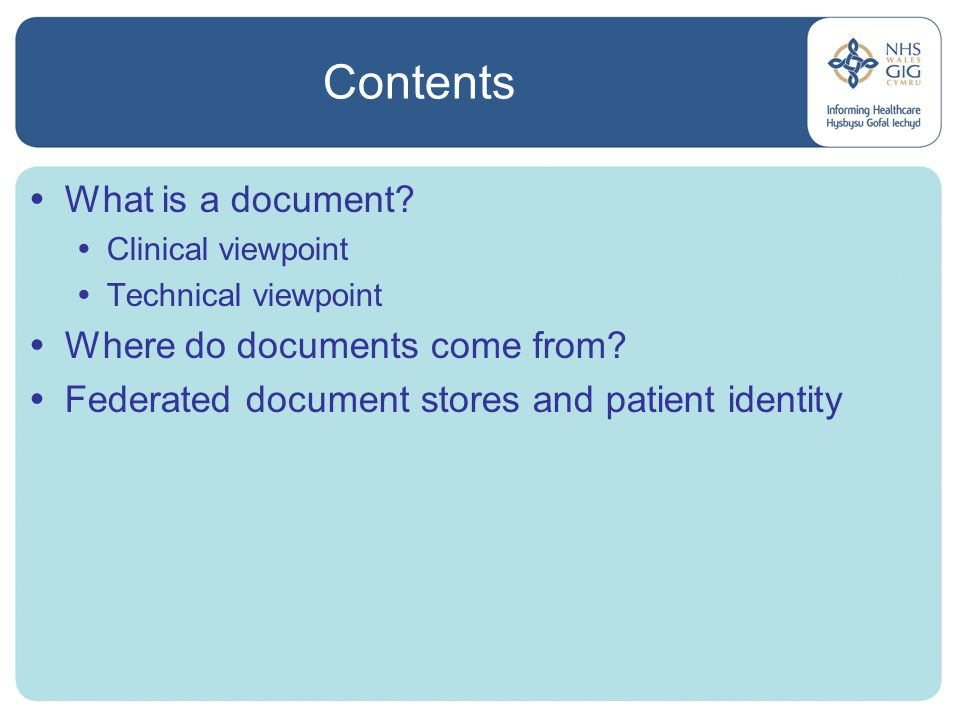 Contents  What is a document.