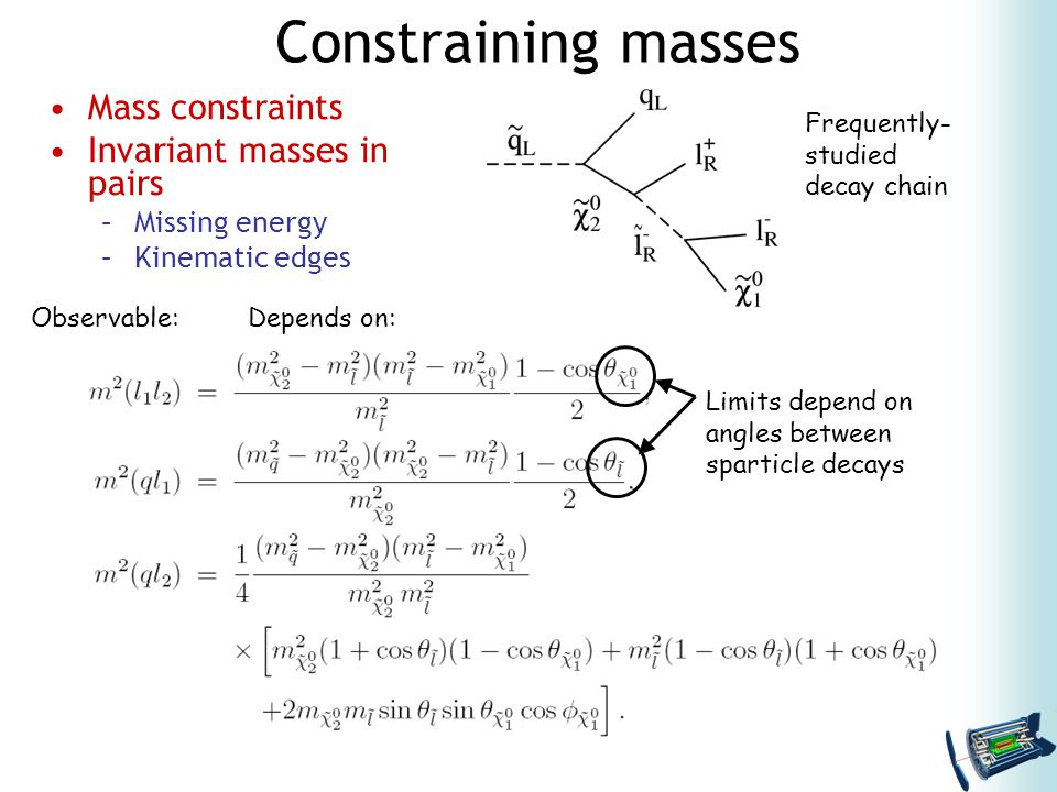 Constraining masses Mass constraints Invariant masses in pairs –Missing energy –Kinematic edges Observable:Depends on: Limits depend on angles between sparticle decays Frequently- studied decay chain