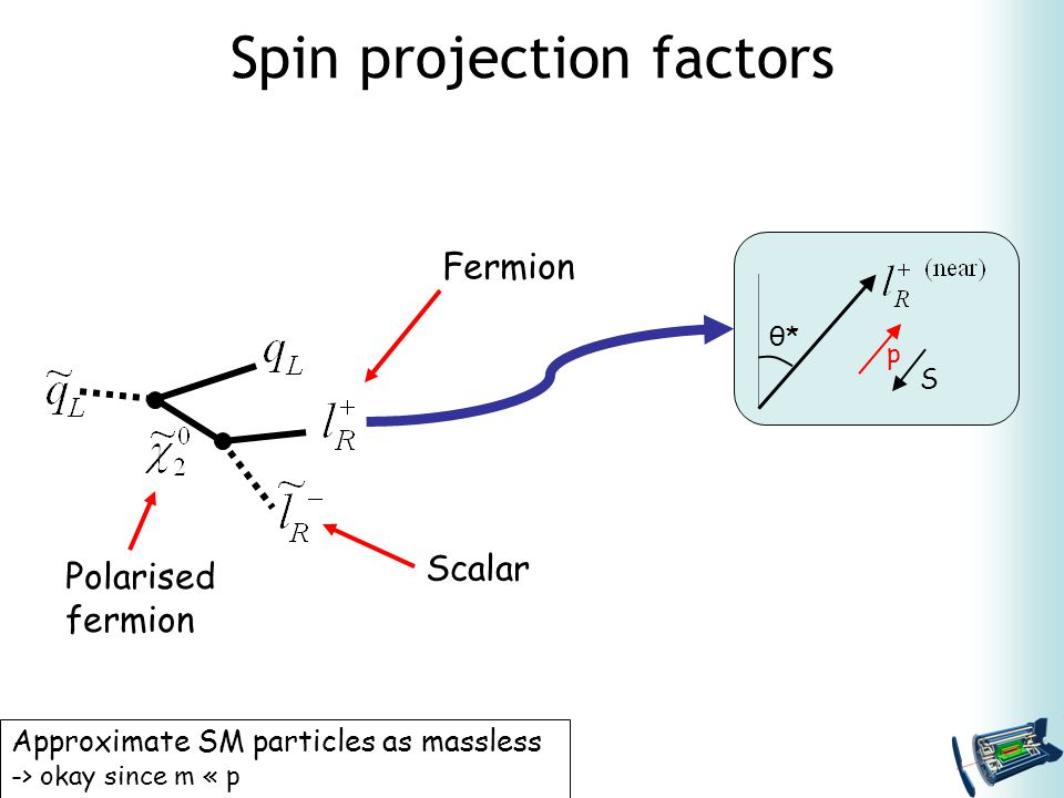 Spin projection factors Approximate SM particles as massless -> okay since m « p θ*θ* p S Scalar Fermion Polarised fermion