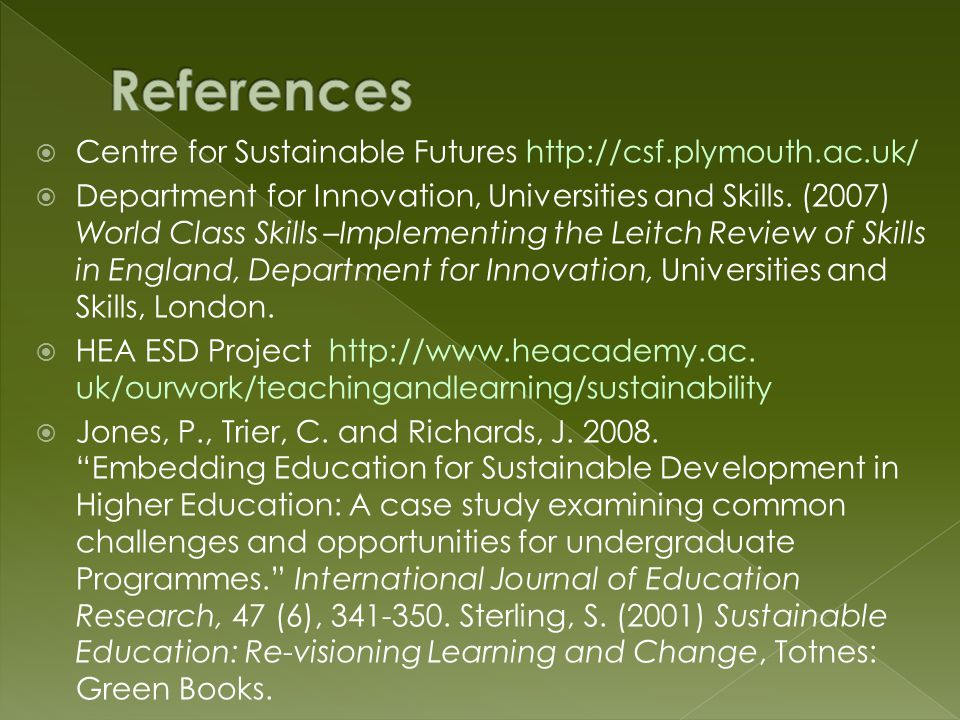  Centre for Sustainable Futures http://csf.plymouth.ac.uk/  Department for Innovation, Universities and Skills.