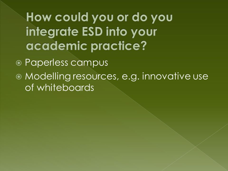  Paperless campus  Modelling resources, e.g. innovative use of whiteboards