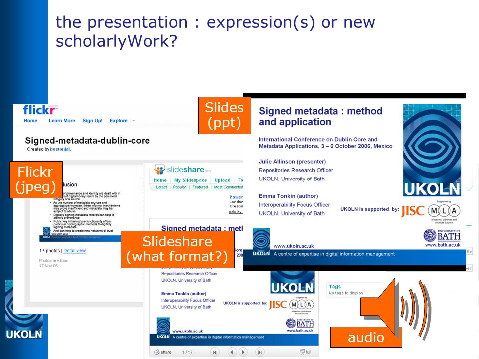 the presentation : expression(s) or new scholarlyWork.