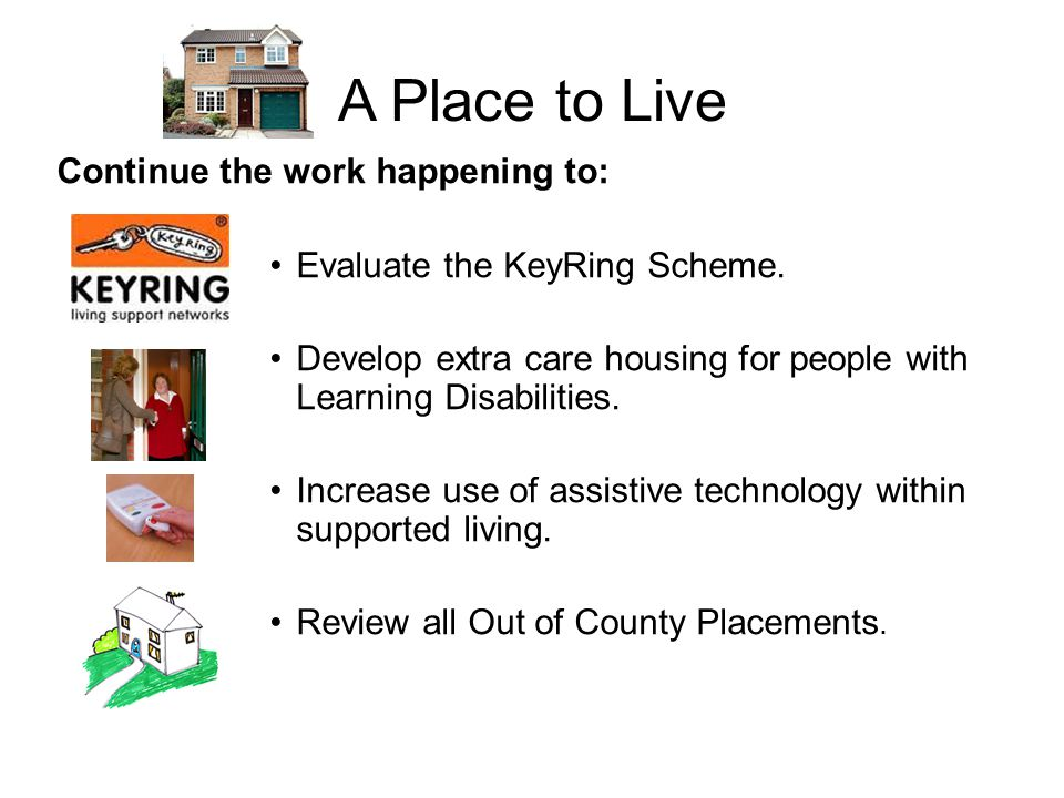 A Place to Live Continue the work happening to: Evaluate the KeyRing Scheme.