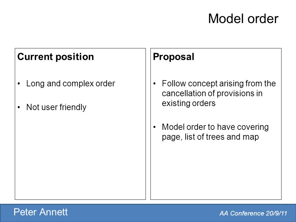 AA Conference 20/9/11 Peter Annett Model order Current position Long and complex order Not user friendly Proposal Follow concept arising from the cancellation of provisions in existing orders Model order to have covering page, list of trees and map