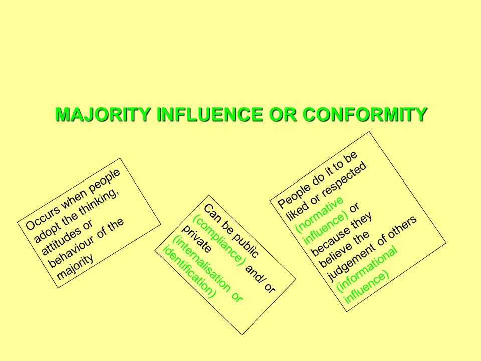 MAJORITY INFLUENCE OR CONFORMITY Occurs when people adopt the thinking, attitudes or behaviour of the majority Can be public (compliance) and/ or private (internalisation or identification) People do it to be liked or respected (normative influence) or because they believe the judgement of others (informational influence)