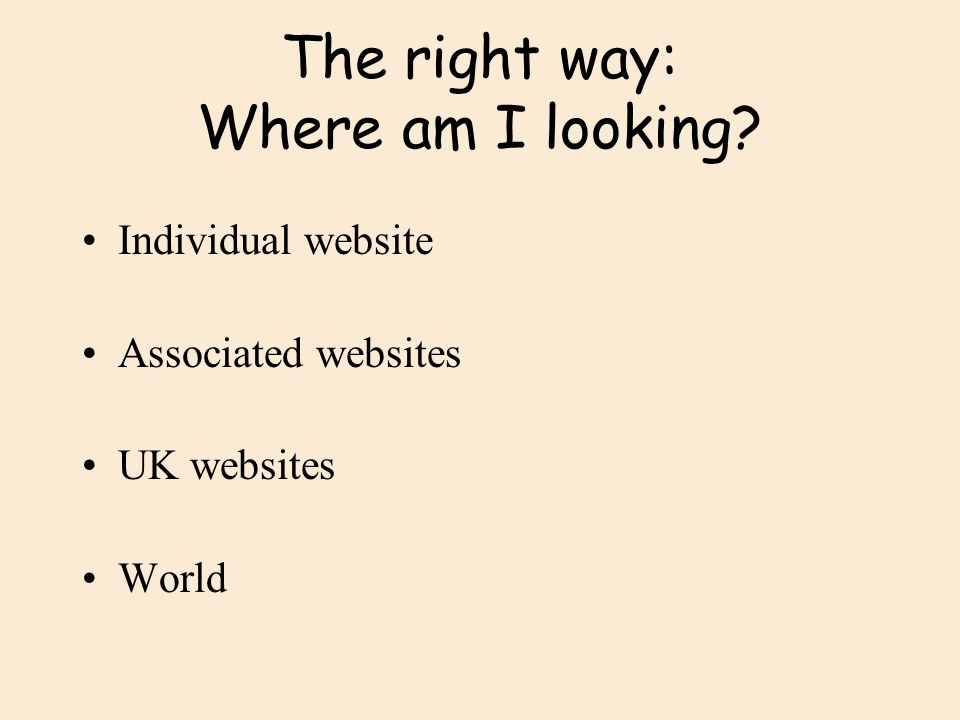 The right way: Where am I looking
