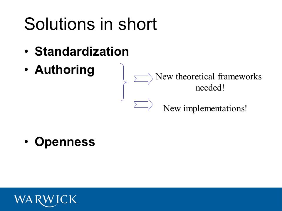 Solutions in short Standardization Authoring Openness New theoretical frameworks needed.