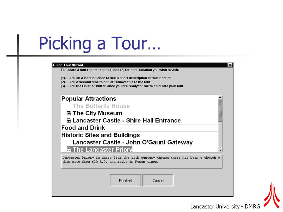 Lancaster University - DMRG Picking a Tour…