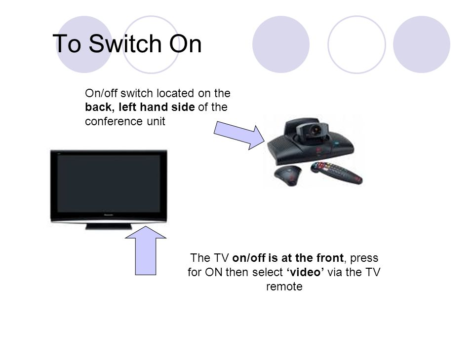 To Switch On On/off switch located on the back, left hand side of the conference unit The TV on/off is at the front, press for ON then select 'video' via the TV remote