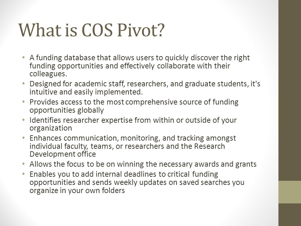 What is COS Pivot.