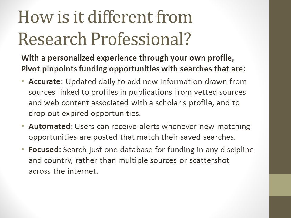 How is it different from Research Professional.