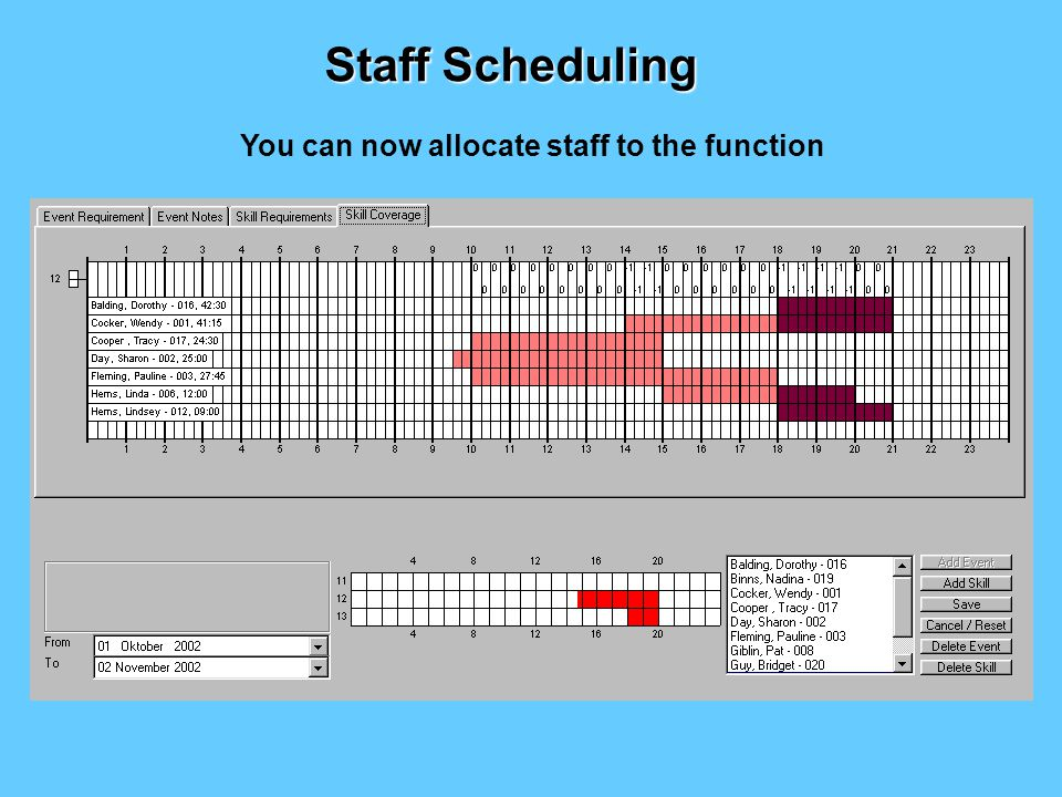 Then enter the exact number of staff required and when by drawing with the mouse on the time grid.