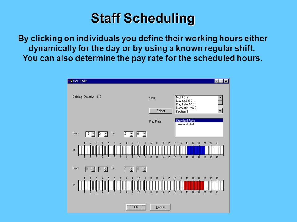 You can now allocate staff to the function Staff Scheduling
