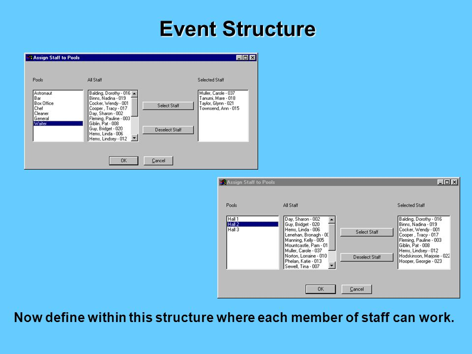 Firstly define a staff structure that matches your organisational needs e.g.
