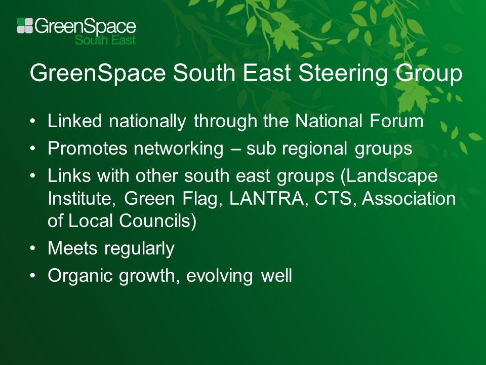 GreenSpace South East Steering Group Linked nationally through the National Forum Promotes networking – sub regional groups Links with other south east groups (Landscape Institute, Green Flag, LANTRA, CTS, Association of Local Councils) Meets regularly Organic growth, evolving well