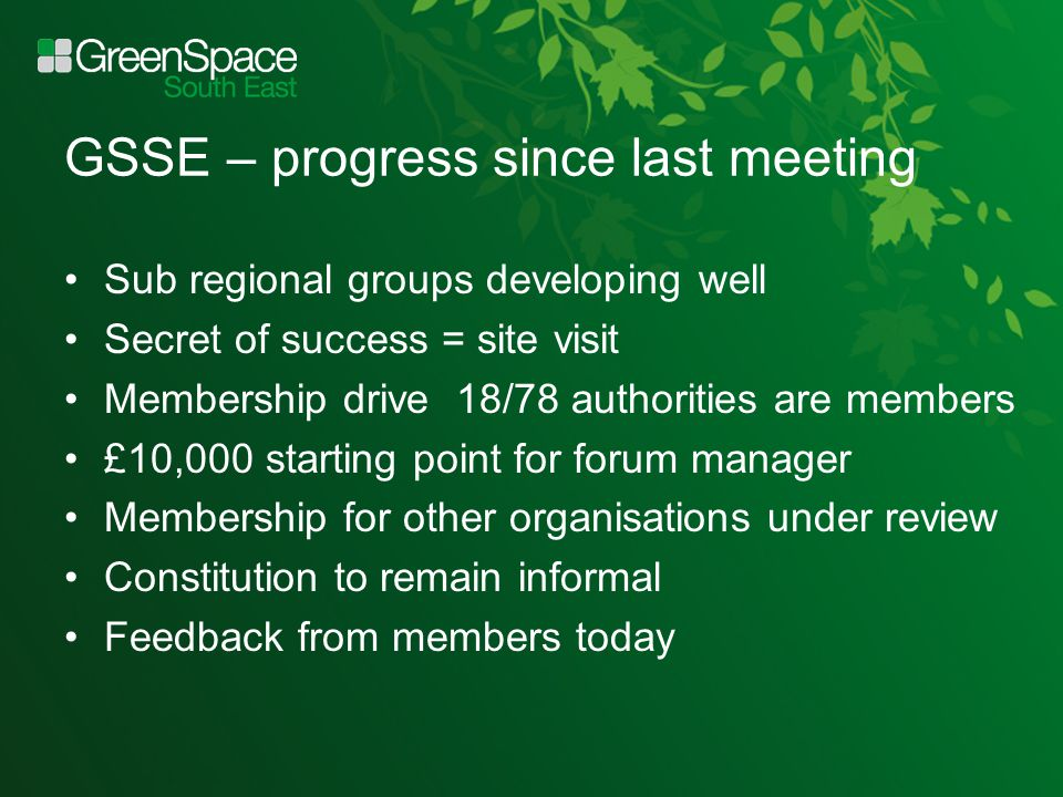 GSSE – progress since last meeting Sub regional groups developing well Secret of success = site visit Membership drive 18/78 authorities are members £10,000 starting point for forum manager Membership for other organisations under review Constitution to remain informal Feedback from members today