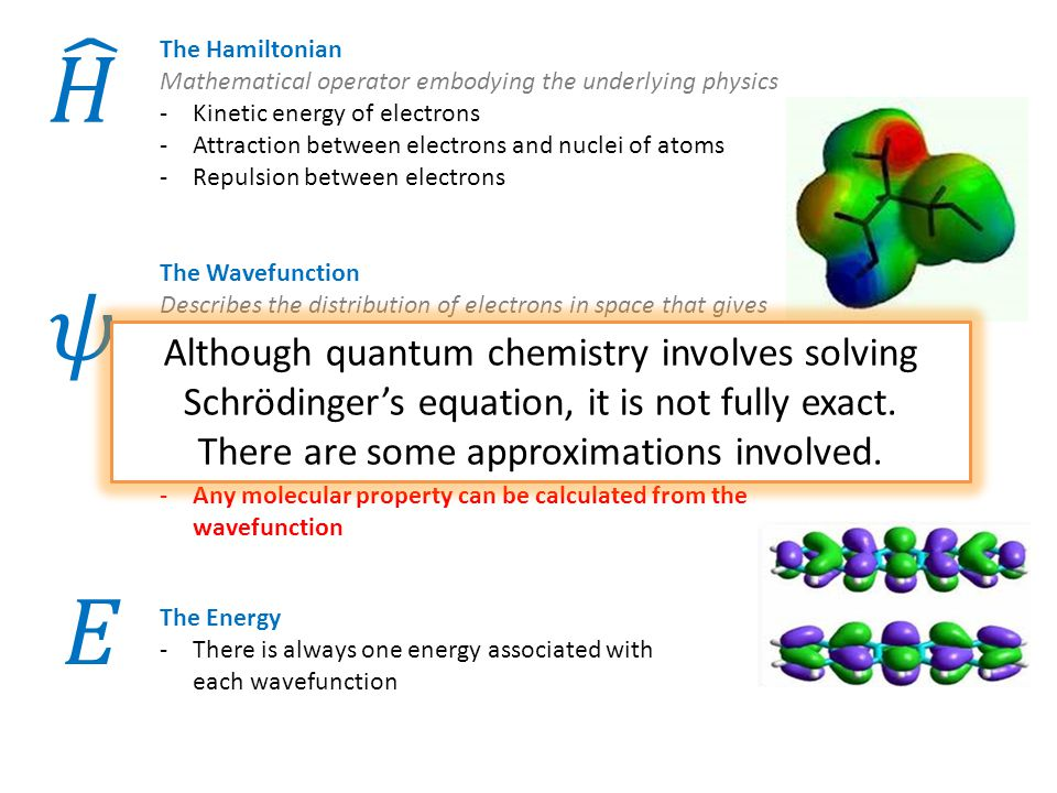 E The Hamiltonian Mathematical operator embodying the underlying physics -Kinetic energy of electrons -Attraction between electrons and nuclei of atoms -Repulsion between electrons The Wavefunction Describes the distribution of electrons in space that gives the lowest energy -A function of all electron positions within the molecule -The square of the wavefunction gives the electron density -Any molecular property can be calculated from the wavefunction The Energy -There is always one energy associated with each wavefunction Although quantum chemistry involves solving Schrödinger's equation, it is not fully exact.