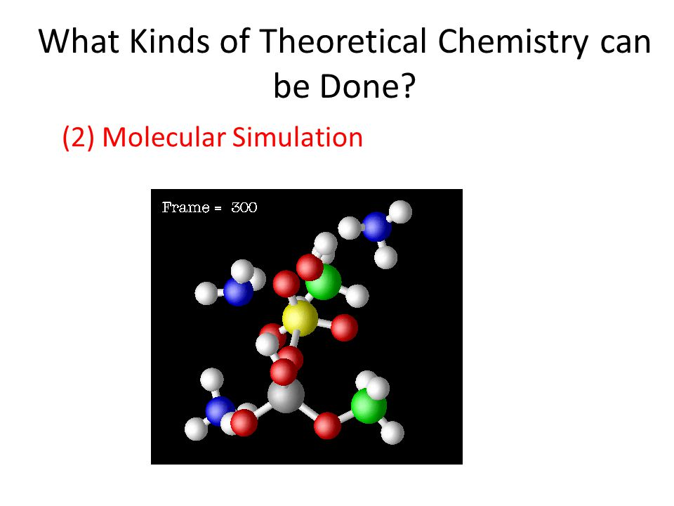 What Kinds of Theoretical Chemistry can be Done (2) Molecular Simulation