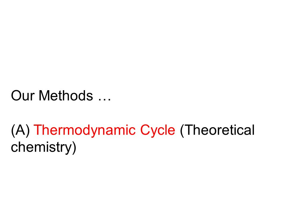 Our Methods … (A) Thermodynamic Cycle (Theoretical chemistry)