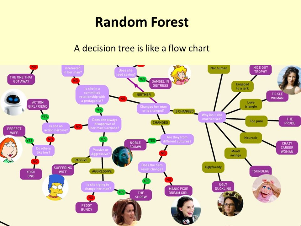 A decision tree is like a flow chart Random Forest