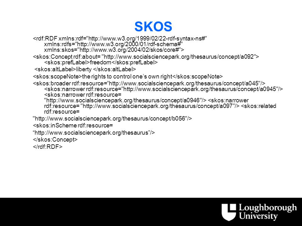 SKOS freedom liberty the rights to control one's own right <skos:related rdf:resource= http://www.socialsciencepark.org/thesaurus/concept/b056 /> <skos:inScheme rdf:resource= http://www.socialsciencepark.org/thesaurus />
