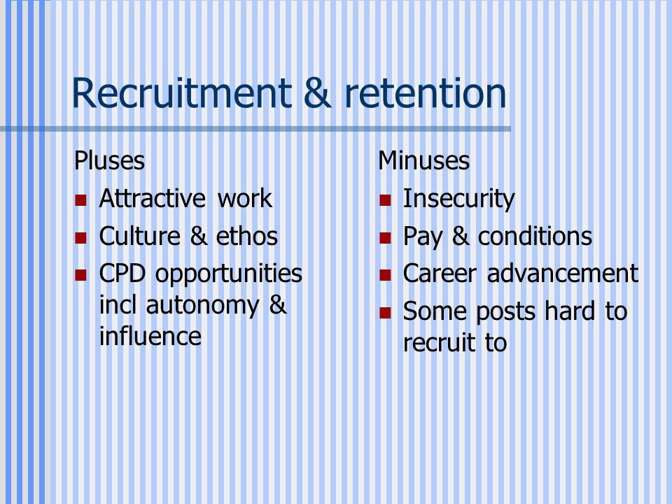Recruitment & retention Pluses Attractive work Culture & ethos CPD opportunities incl autonomy & influence Minuses Insecurity Pay & conditions Career advancement Some posts hard to recruit to