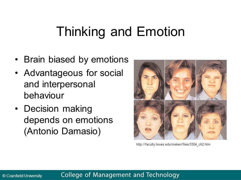 Thinking and Emotion Brain biased by emotions Advantageous for social and interpersonal behaviour Decision making depends on emotions (Antonio Damasio) http://faculty.txwes.edu/mskerr/files/3304_ch2.htm