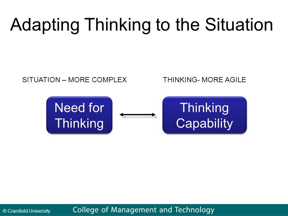 © Cranfield University Need for Thinking Need for Thinking Capability Thinking Capability Adapting Thinking to the Situation SITUATION – MORE COMPLEXTHINKING- MORE AGILE