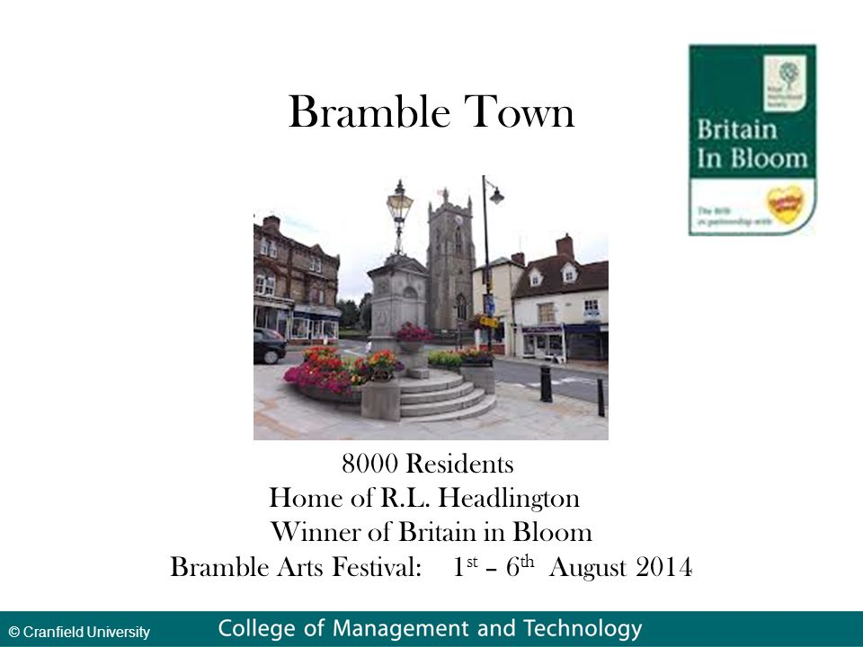 © Cranfield University Bramble Town 8000 Residents Home of R.L.