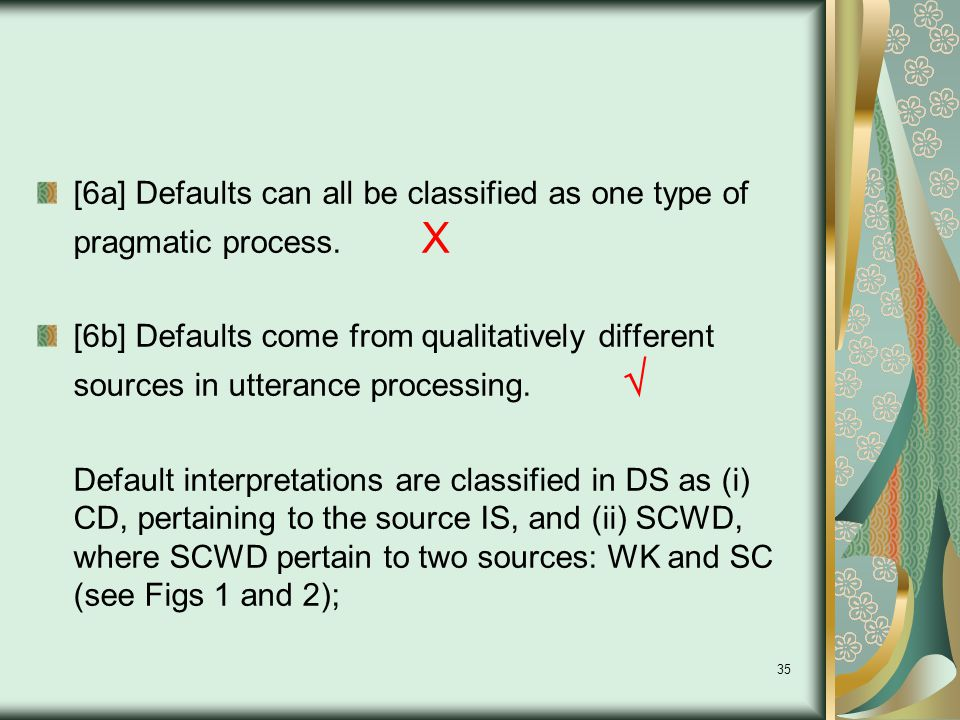 35 [6a] Defaults can all be classified as one type of pragmatic process.
