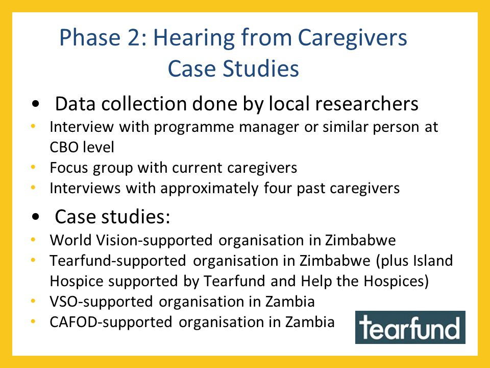 Phase 2: Hearing from Caregivers Case Studies Data collection done by local researchers Interview with programme manager or similar person at CBO level Focus group with current caregivers Interviews with approximately four past caregivers Case studies: World Vision-supported organisation in Zimbabwe Tearfund-supported organisation in Zimbabwe (plus Island Hospice supported by Tearfund and Help the Hospices) VSO-supported organisation in Zambia CAFOD-supported organisation in Zambia
