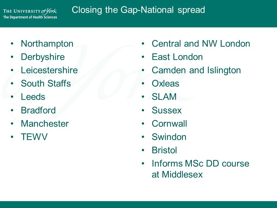 Northampton Derbyshire Leicestershire South Staffs Leeds Bradford Manchester TEWV Central and NW London East London Camden and Islington Oxleas SLAM Sussex Cornwall Swindon Bristol Informs MSc DD course at Middlesex Closing the Gap-National spread
