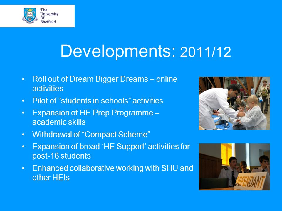 Developments: 2011/12 Roll out of Dream Bigger Dreams – online activities Pilot of students in schools activities Expansion of HE Prep Programme – academic skills Withdrawal of Compact Scheme Expansion of broad 'HE Support' activities for post-16 students Enhanced collaborative working with SHU and other HEIs