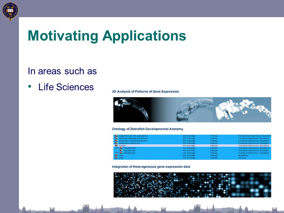 In areas such as Life Sciences Motivating Applications