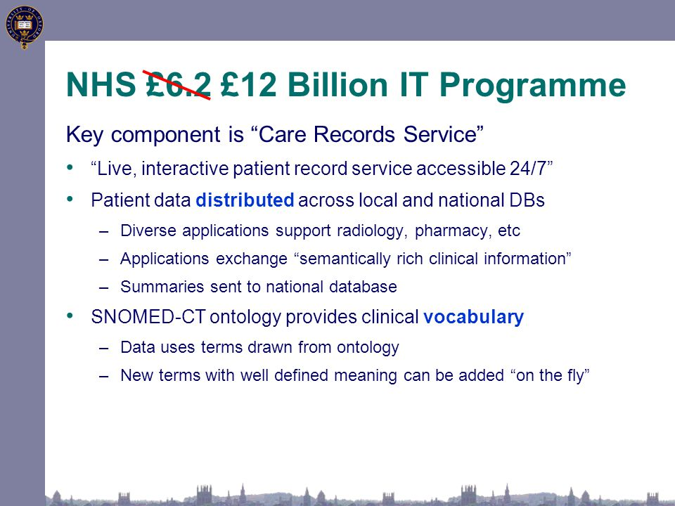 NHS £6.2 £12 Billion IT Programme Key component is Care Records Service Live, interactive patient record service accessible 24/7 Patient data distributed across local and national DBs –Diverse applications support radiology, pharmacy, etc –Applications exchange semantically rich clinical information –Summaries sent to national database SNOMED-CT ontology provides clinical vocabulary –Data uses terms drawn from ontology –New terms with well defined meaning can be added on the fly