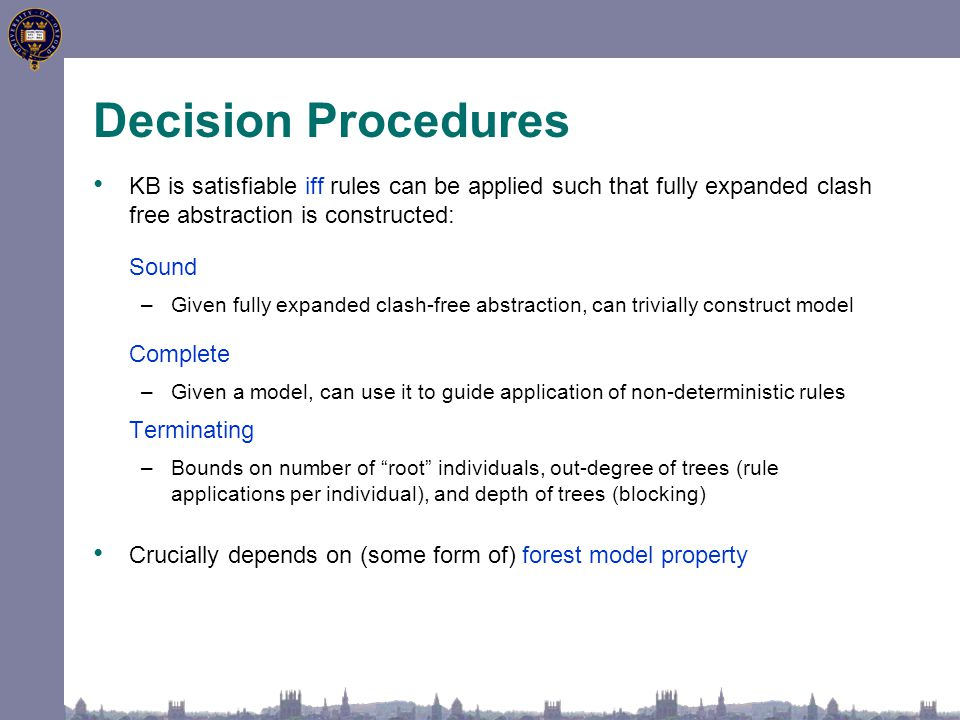 Decision Procedures KB is satisfiable iff rules can be applied such that fully expanded clash free abstraction is constructed: Sound –Given fully expanded clash-free abstraction, can trivially construct model Complete –Given a model, can use it to guide application of non-deterministic rules Terminating –Bounds on number of root individuals, out-degree of trees (rule applications per individual), and depth of trees (blocking) Crucially depends on (some form of) forest model property