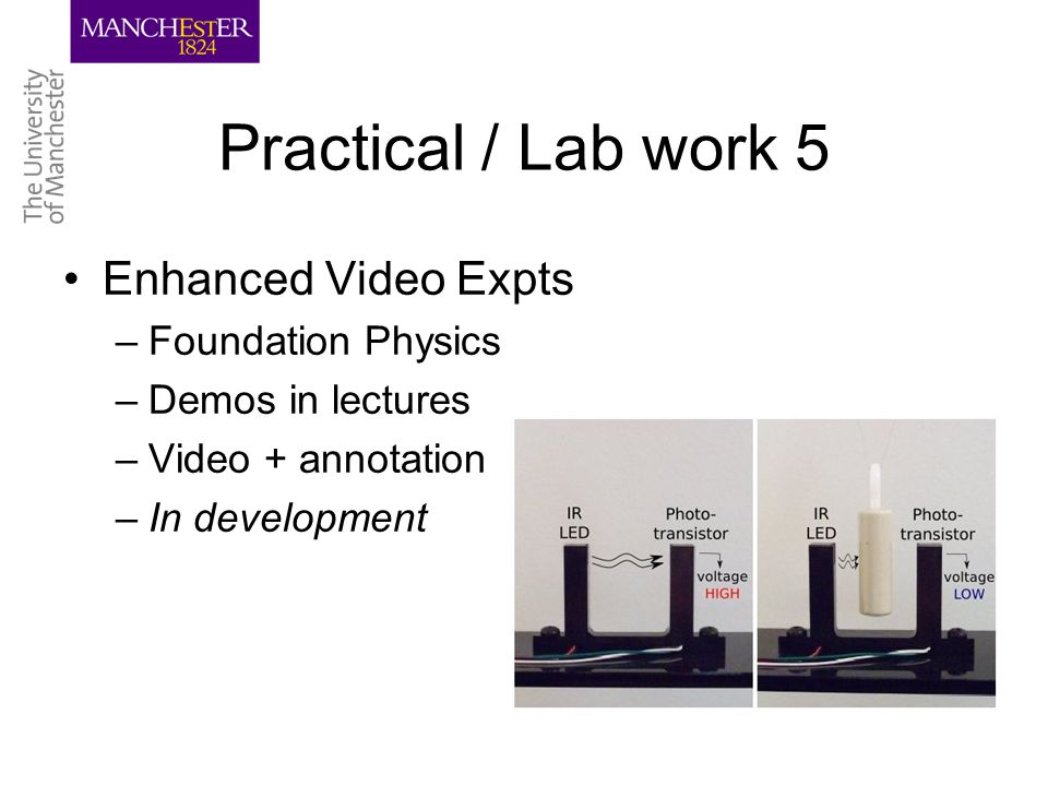 Practical / Lab work 5 Enhanced Video Expts –Foundation Physics –Demos in lectures –Video + annotation –In development