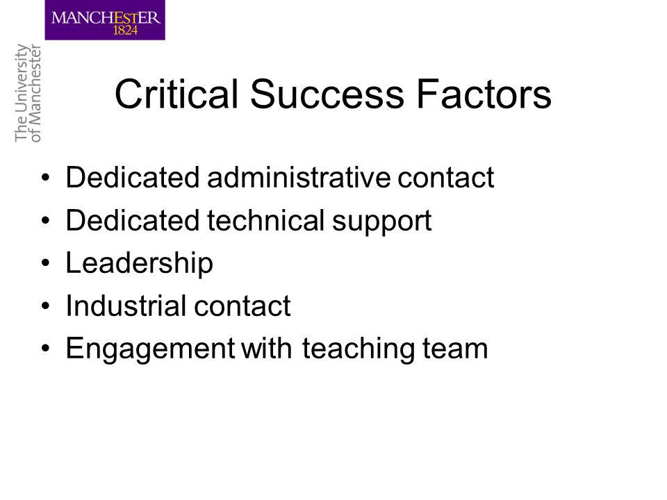 Critical Success Factors Dedicated administrative contact Dedicated technical support Leadership Industrial contact Engagement with teaching team