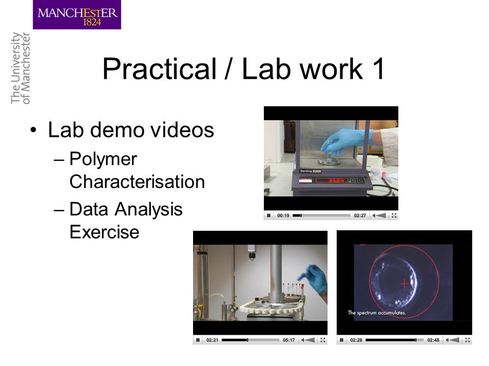 Practical / Lab work 1 Lab demo videos –Polymer Characterisation –Data Analysis Exercise