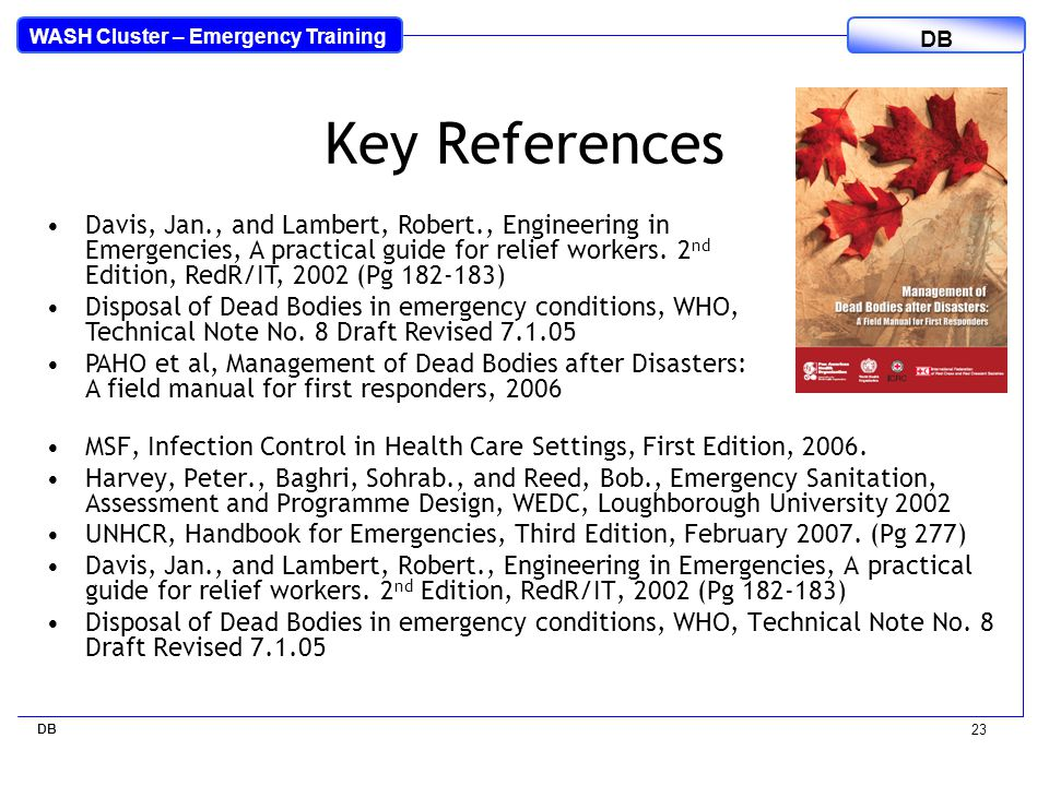 Management of Dead Bodies in Disaster Situations: A Field Manual for First Responders
