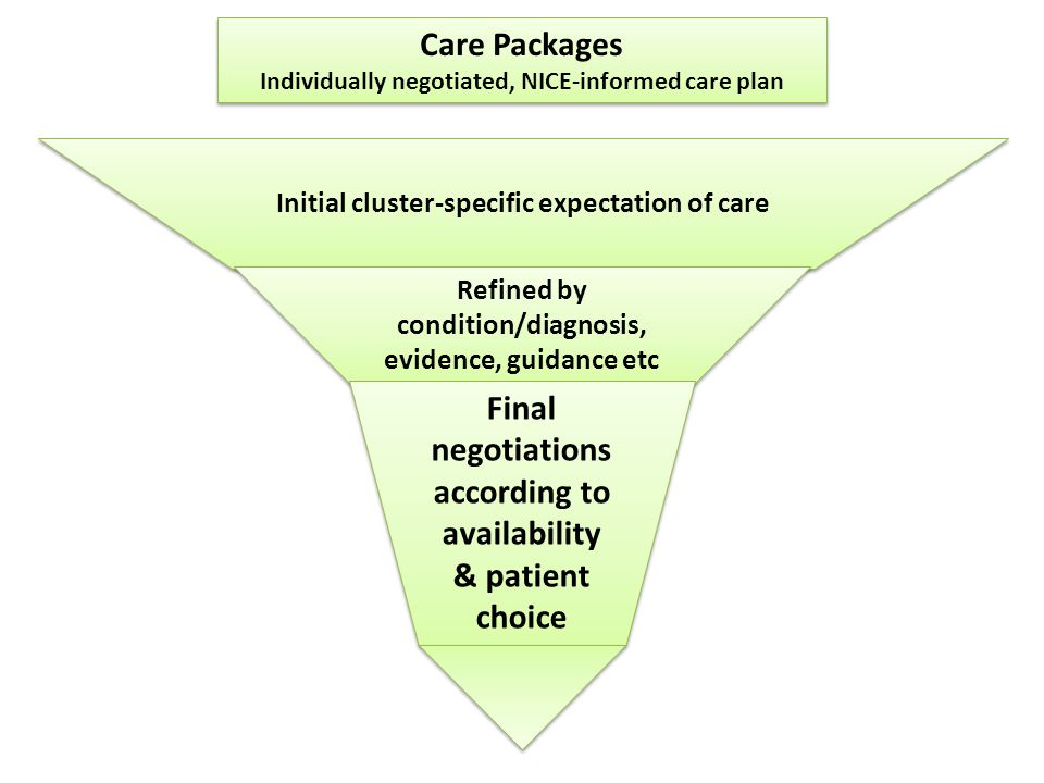 Care Packages Individually negotiated, NICE-informed care plan Care Packages Individually negotiated, NICE-informed care plan Initial cluster-specific expectation of care Refined by condition/diagnosis, evidence, guidance etc Final negotiations according to availability & patient choice