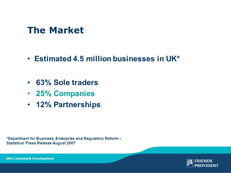 UKD Learning & Development The Market 63% Sole traders 25% Companies 12% Partnerships *Department for Business, Enterprise and Regulatory Reform – Statistical Press Release August 2007 Estimated 4.5 million businesses in UK*