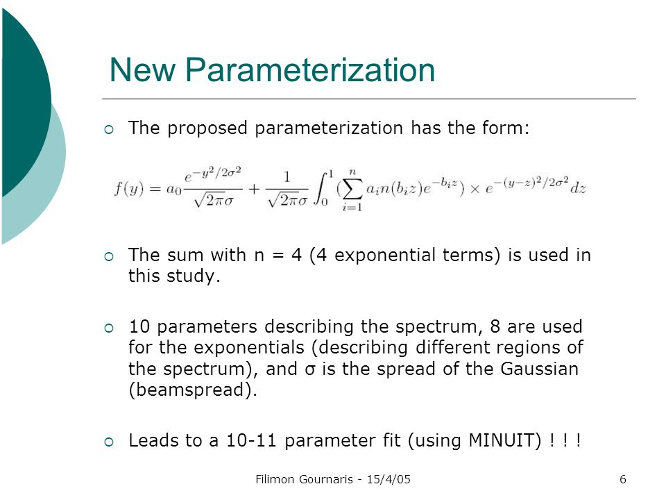 Filimon Gournaris - 15/4/056 New Parameterization  The proposed parameterization has the form:  The sum with n = 4 (4 exponential terms) is used in this study.