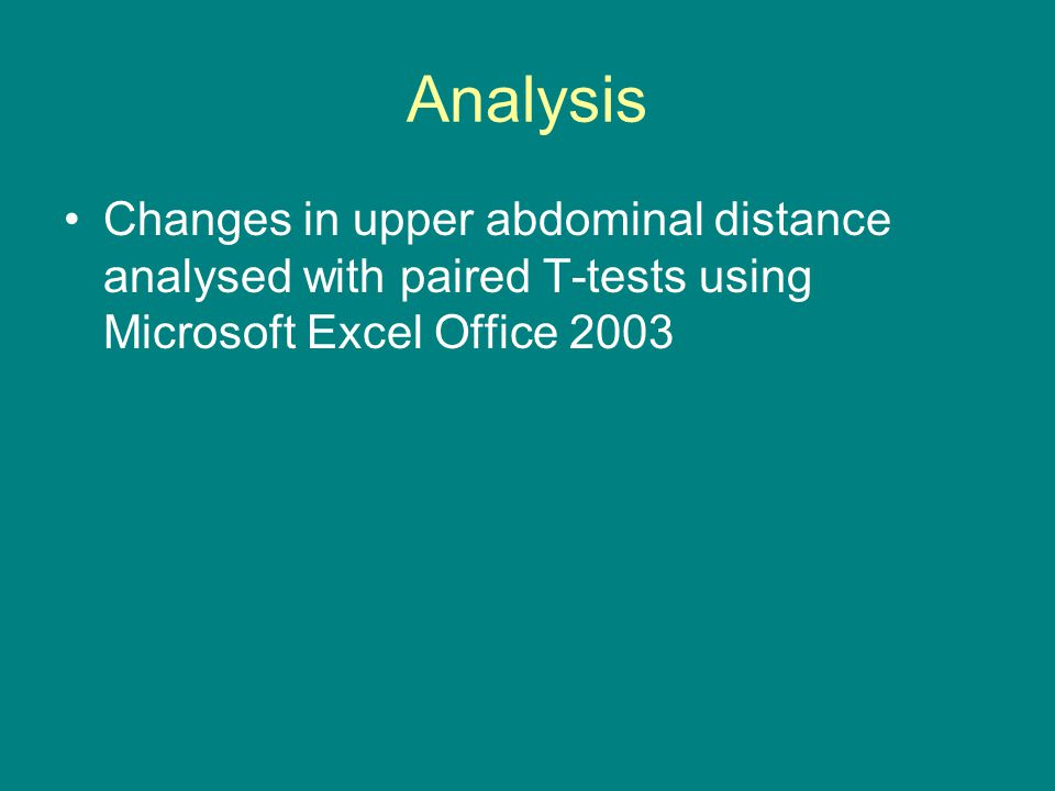 Analysis Changes in upper abdominal distance analysed with paired T-tests using Microsoft Excel Office 2003