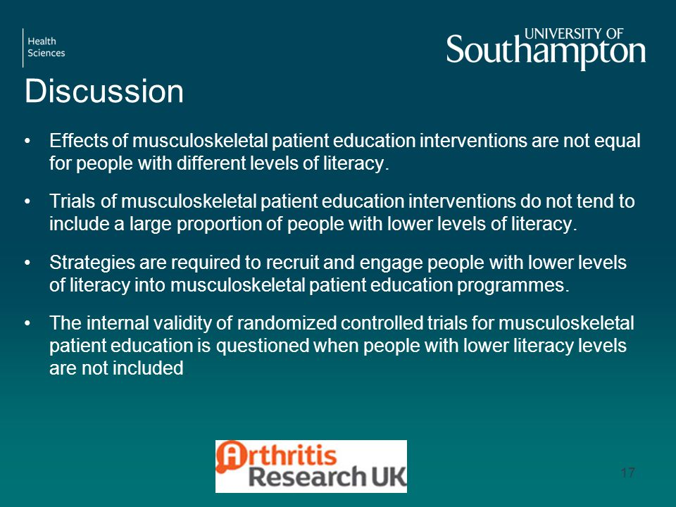 Discussion Effects of musculoskeletal patient education interventions are not equal for people with different levels of literacy.