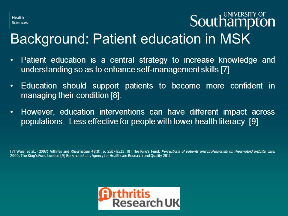 Background: Patient education in MSK Patient education is a central strategy to increase knowledge and understanding so as to enhance self-management skills [7] Education should support patients to become more confident in managing their condition [8].