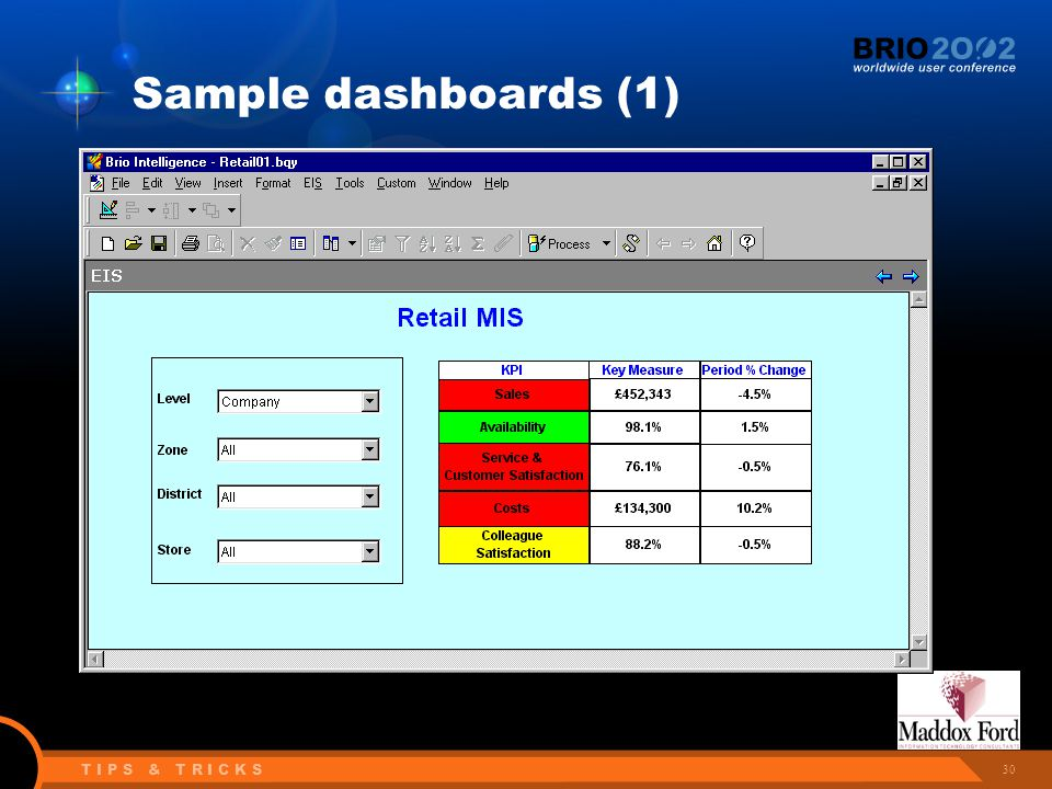 30 T I P S & T R I C K S Sample dashboards (1)