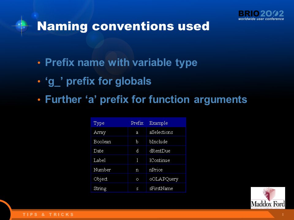 8 T I P S & T R I C K S Naming conventions used Prefix name with variable type 'g_' prefix for globals Further 'a' prefix for function arguments