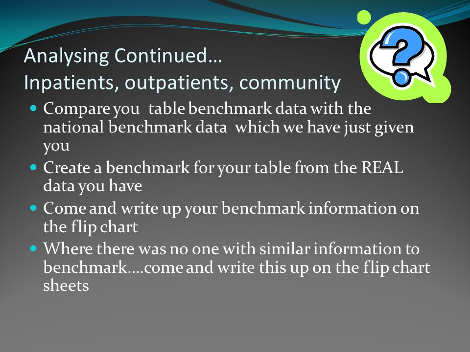 Analysing Continued… Inpatients, outpatients, community Compare you table benchmark data with the national benchmark data which we have just given you Create a benchmark for your table from the REAL data you have Come and write up your benchmark information on the flip chart Where there was no one with similar information to benchmark….come and write this up on the flip chart sheets
